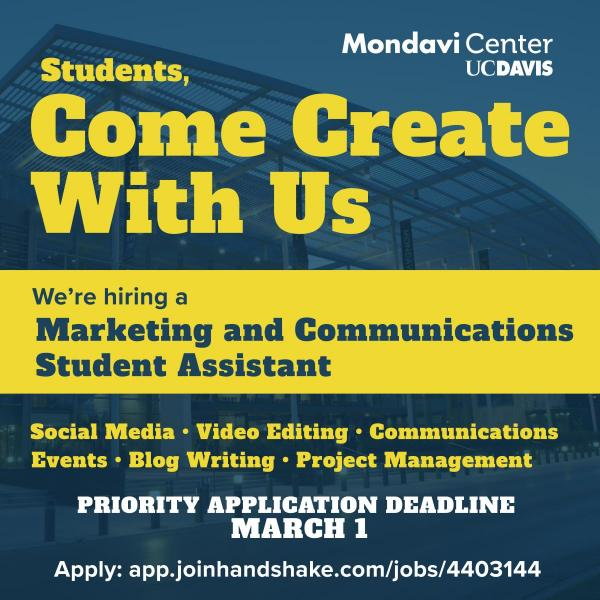 The image lists the details about a job posting for a marketing and communications student assistant position.