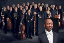 Group photo of of Orpheus Chamber Orchestra with inset portrait of Branford Marsalis