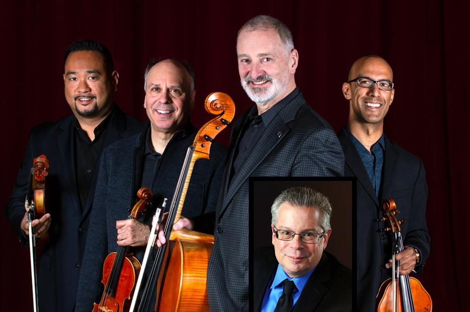 The members of Alexander String Quartet pose with their instruments with Robert Greenberg.