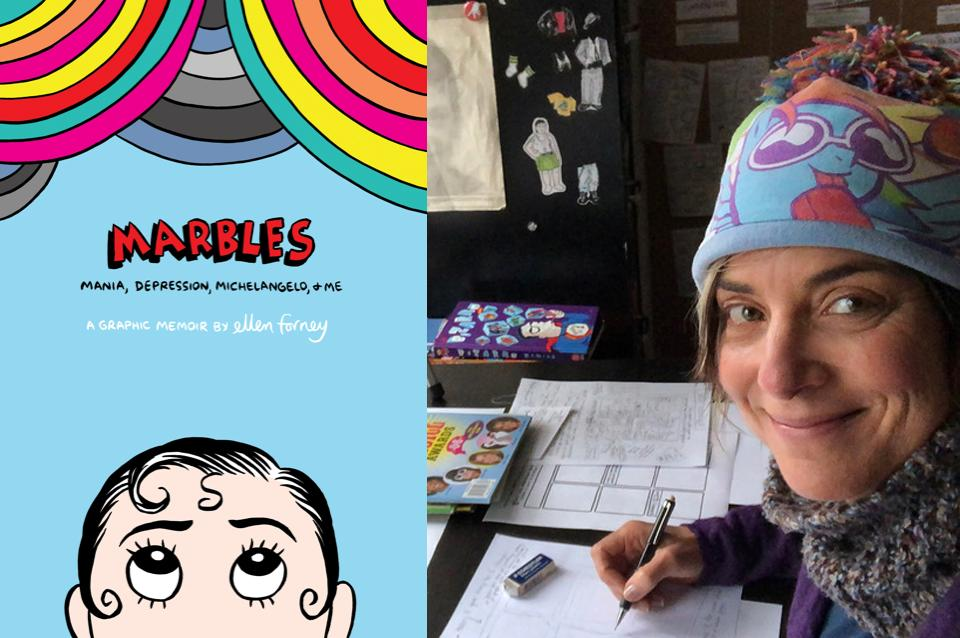 Book Cover of Marbles next to author photo of Ellen Forney