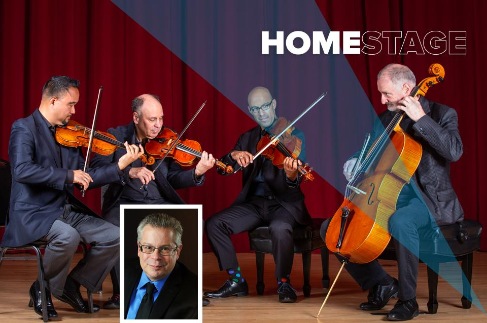 The 4 members of ASQ are pictured playing their instruments and a photo of Robert Greenberg is inset.