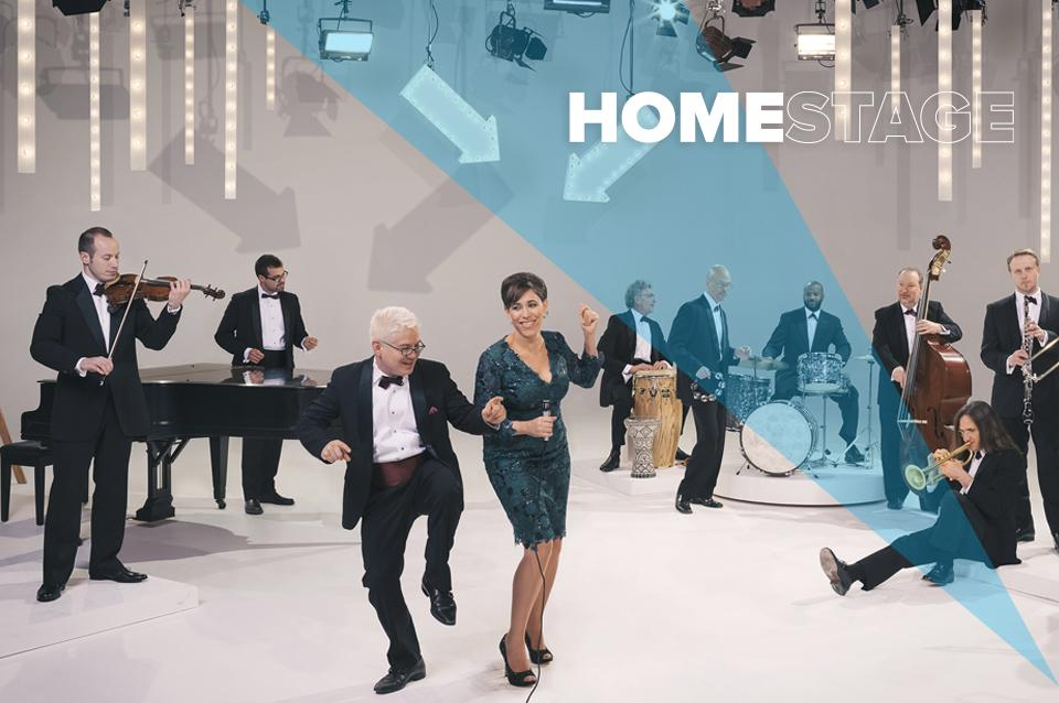 Photo of the band Pink Martini with text overlaid that says ` HomeStage'.