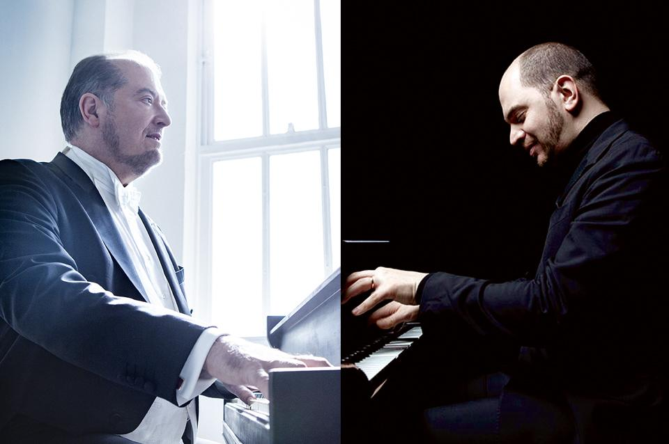 Garrick Ohlsson and Kirill Gerstein playing the piano, facing one another.