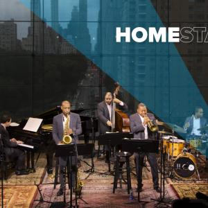 The Jazz at Lincoln Center Orchestra Septet with Wynton Marsalis playing music in studio.