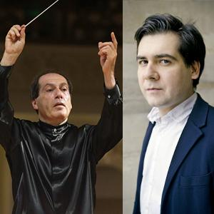 Headshots of conductor Pavel Cogan holding two batons, and soloist Vadym Kholodenko