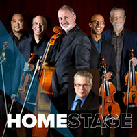 HomeStage logo with members of the Alexander String Quartet holding their violins and cello.
