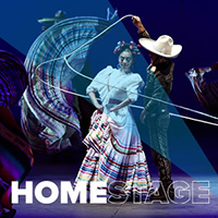 HomeStage logo with three dancers from Ballet Folklorico de Mexico in the background