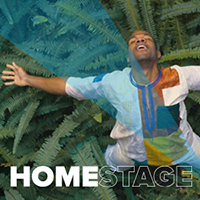 HomeStage logo with a man, arms outstretched, head tilted backwards. Foliage in the background.