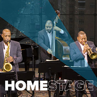 HomeStage logo with three musicians from Jazz at Lincoln Center in the background.